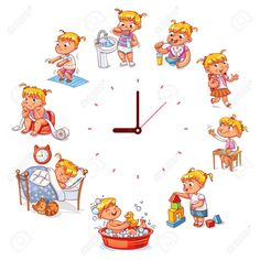 Daily routine with simple watches Vector set with baby girl Funny cartoon character Vector illustrat Funny Cartoons For Kids, Funny Cartoon Characters, Cartoon Kids, Baby Cartoon, Daily Routine Activities, Learning Activities, Routine Chart, Simple Watches, Girl Humor