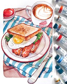 second video in the HUNGRY series will be this little breakfast sandwich! second video in the HUNGRY series will be this little breakfast sandwich! Food Design, Copic, Cute Food, Yummy Food, Food Art Painting, Food Sketch, Food Cartoon, Watercolor Food, Poses References