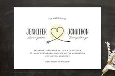 """Lovestruck"" - Whimsical & Funny, Hand Drawn Wedding Invitations in Blush by Kim Dietrich Elam."