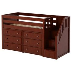 Harriet Bee Bolduc Twin Low Loft Bed with Drawers Bed Frame Color: Chestnut Bunk Beds With Storage, Bunk Bed With Trundle, Kids Bunk Beds, Stair Storage, Bed Storage, Storage Spaces, Extra Storage, Modern Bunk Beds, Low Loft Beds