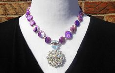 Statement Necklace  Purple mother of pearl by CopperTowneGems, $69.00
