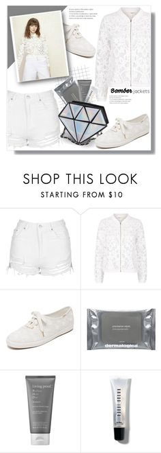 """Light Topping: Summer Bomber Jackets"" by queenvirgo ❤ liked on Polyvore featuring Topshop, Maje, Kate Spade, Dermalogica, Living Proof, Bobbi Brown Cosmetics and bomberjackets"