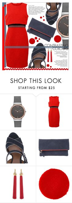 """""""Little Red Dress"""" by erica-tais ❤ liked on Polyvore featuring Skagen, Oscar de la Renta, Clare V., Yves Saint Laurent and Christian Louboutin"""