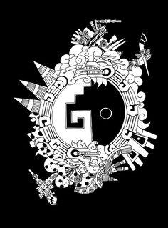 aztec shield drawing by ~robot-taco on deviantART I like the hunab-ku in the middle Aztec Tattoo Designs, Aztec Designs, Shield Drawing, Aztec Warrior Tattoo, Mayan Tattoos, Mexican Art Tattoos, Jaguar Tattoo, Aztec Symbols, Rune Symbols