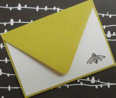 Little bee noteset embossed by cardsbypamela on Etsy, $7.50