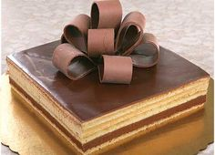 Opera cake: This is a classic French cake with coffee/chocolate flavoring. I like this classy, bow decoration.