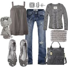 Kitten gray outfit with touches of sterling....