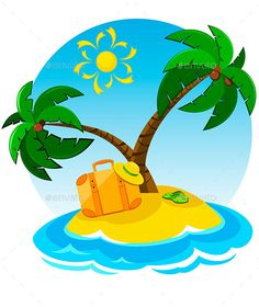Summer Vacations (CS, baggage, Coconut tree, hat, island, luggage, palm tree, palm tree vector, palm trees, suitcase, sunshine, travel, travel icon, tropical, tropical beach, tropical island, vacation, vacation beach, vacation icon, Vacation Travel)