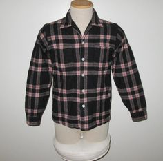 Vintage 1950s Black And Pink Shadow Plaid Wool Shirt By Game And Lake Original - Size S, M by SayItWithVintage on Etsy