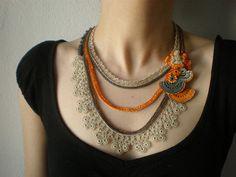 Caesalpinia Pulcherrima  ... beaded crochet necklace -  orange cream gray beaded lace and flowers