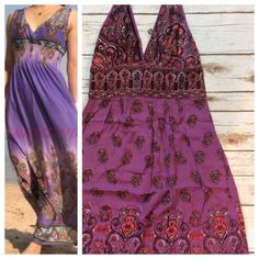 """Purple maxi sundress This gorgeous purple sundress is both lightweight cotton suitable for summer and a deep v-neckline for flattery. Easy to wear dressy or casual. Shoulder straps button in back allowing convertible halter option, elastic at back bust insures perfect fit. Super long at 37"""" below waistline.  100% rayon by Angie . Dresses"""