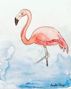 Testing my new pentel aquash watercolor pencils!  . . . . . #flamingoillustration #flamingo #flamingoes #flamingodrawing #flamingoart #illustrationartists #illustrationoftheday #iamcreative #artsagram #illustration #kuvitus #drawing #inkdrawing #birdillustration #birdart #birddrawing