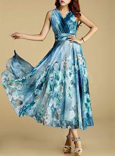 Elegant Nipped Waist Sleeveless Chiffon Maxi Dress | Ezpopsy.com