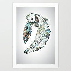 TATTOO Owl Art Print by Joshua T.Pearson - $15.60