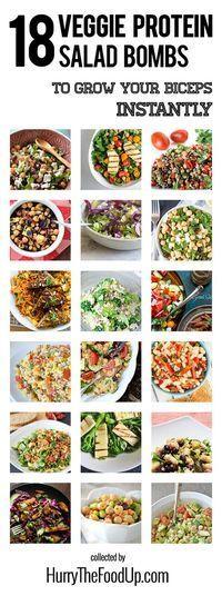 18 Vegan and Vegetarian High Protein Salads | #protein #vegan #vegetarian | hurrythefoodup.com