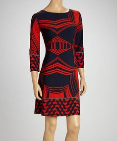 Take a look at this Navy & Red Geometric Shift Dress by Modern Touch on #zulily today!