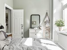 Trendy bedroom black and white grey apartment therapy Bedroom Green, Stylish Space, Home, Scandinavian Home, Bedroom Makeover, Stylish Interior Design, Small Bedroom, Sage Bedroom, Home Bedroom