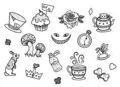 Cute Doodles Disney Alice In Wonderland Flash Art Tattoos, Kritzelei Tattoo, Doodle Tattoo, Tattoo Time, Mini Tattoos, Small Tattoos, Family Tattoos, Kaleidoscope Tattoo, Alice And Wonderland Tattoos