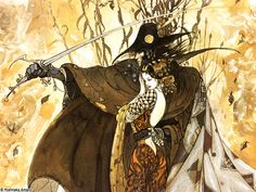 Vampire Hunter D piece by Yoshitaka Amano, artist for D and Final Fantasy, influenced by nouveau. His work is incredible and a must see.