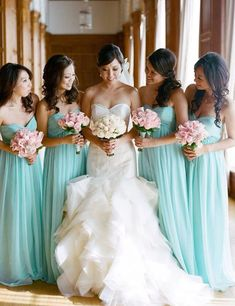 wedding dress, bridesmaid dress, photo tiffany blue bridesmaids with pink bouquets. Pretty wedding dress too! Love this color scheme and the dresses! Simple Bridesmaid Dresses, Pretty Wedding Dresses, Wedding Gowns, Bridesmaid Bouquet, Wedding Bride, Rustic Wedding, Wedding Rings, Blue Wedding, Wedding Bells