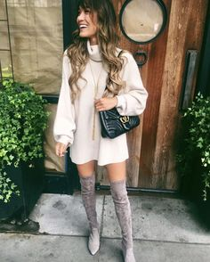 17+ Over The Knee Boot Outfit Looks To Get Inspired By: Styling taupe over the knee boots can be tricky if you don't know what to do with them. Copy these over the knee boots casual winter outfits to give you a head start! | Taupe thigh high boots outfit with white sweater dress and Gucci Marmont bag. Image ©InteriorDesignerella #overthekneeboots #overthekneebootoutfit #thighhighbootsoutfit #taupeoverthekneeboots