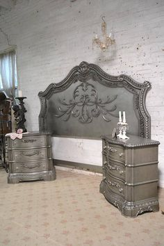 Beautiful romantic headboard only, available in queen or king with decorative side rails. Tons of shabby chic charm. This is a brand new piece that has all the charm of an antique piece and more. Any of our pieces can be painted any color you like. If you are working with specific
