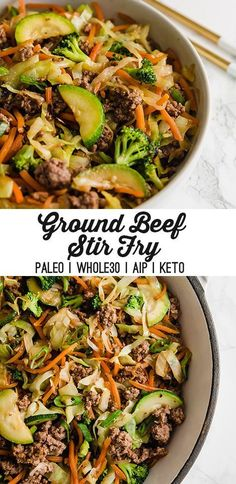 This ground beef stir fry is easy delicious and cost effective! It's made without soy or gluten and is paleo AIP and easy to make keto. The post Ground Beef Stir Fry (Paleo AIP) appeared first on Recipes. Easy Healthy Recipes, Whole Food Recipes, Diet Recipes, Easy Meals, Whole 30 Easy Recipes, Easy Paleo Dinner Recipes, Paleo Cabbage Recipes, Simple Healthy Dinner Recipes, While 30 Recipes
