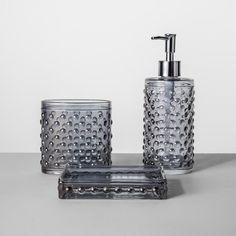 Hobnail Glass With Plastic Pump Soap/Lotion Dispenser Gray Tint - Opalhouse™ : Target Glass Dispenser, Soap Dispenser, Shower Curtain Rods, Soap Holder, Glass Holders, Glass Texture, Liquid Soap, Bath Decor, Bath Accessories