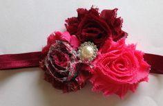 Pink & Maroon Peacock Shabby Flower Headband, Baby Headband, Toddler Headband, Girl's Headband on Etsy, $4.25