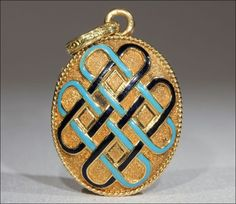 Antique French Locket with Black and Turquoise Enamel, 18k Gold c. 1890
