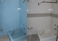 Image result for painting bathroom tiles before and after