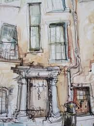 Doorways, St Andrews Mixed Media 2015 Another 'drawing' from St Andrews. I'm really enjoying working quickly with inks and paints and making some adventures into colour other than envelope brown. Architecture Exam, Architecture Drawings, Pencil Drawings Of Flowers, Collage Artists, Urban Sketchers, Built Environment, Art Journal Inspiration, Urban Landscape, Figurative Art