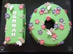 Number 10 Birthday Cake with flowers and butterflies