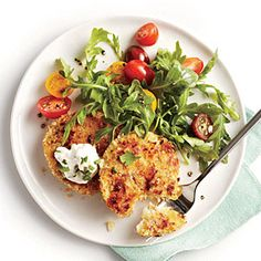 Crispy Cauliflower Cakes with Herb Sauce and Arugula Salad | MyRecipes.com