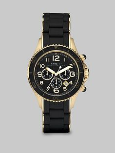 Marc by Marc Jacobs Silicone & Rose Goldtone IP Stainless Steel Chronograph Watch/Black Black And Gold Watch, Black Gold, Italian Gold Jewelry, Marc Jacobs Watch, Jacob Black, Cute Jewelry, Jewelry Box, Michael Kors Watch, Chronograph