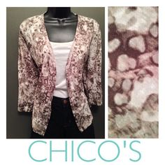 CHICO'S Taupe Abstract Dye Open Cardigan Light weight, lots of stretch! Smoky taupe (gray, brown) and cream white print. Meshy feel. Size 1= Small (would fit a medium, too). Excellent condition!! Chico's Sweaters Cardigans