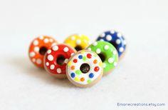 Polka Dot Donut Push Pins Set of 6 Polymer by Emariecreations, $9.00