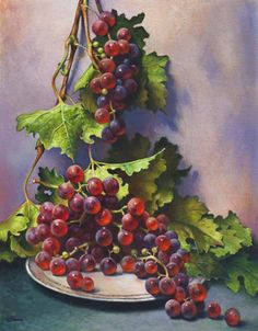 Official website of Lyndall Bass featuring contemporary realist painting, fine art portraits, figure drawings, classic still life, and male and female nudes. Grape Painting, Fruit Painting, China Painting, Watercolor Landscape, Landscape Art, Watercolor Art, Vegetable Painting, Still Life Fruit, Fruit Art