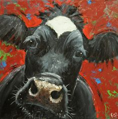 Cow painting 673 20x20 inch animal original oil painting by Roz via Etsy