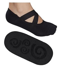 Lupo Womens Essential No Slip Crossover Yoga Pilates Barre Socks Medium Black >>> Check out this great product.