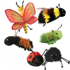 Fire their imagination with these wonderful mini-beast finger puppets. Soft and fluffy, and made to look pretty real, they are also a great resource for teachers, and play/music group leaders. Also available individually.  http://www.onestopbugshop.co.uk/ourshop/prod_2758172-Fab-MiniBeasts-Finger-Puppet-Set.html
