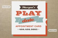Let's Play Appointment Card by chica design at minted.com. Wow, lol, kids these days are so popular they set appointments?! Cute gift for expectant mom. #design #graphics #type