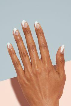 Minimalist Nails, Subtle Nail Art, White Nail Art, Oval Nail Art, Neutral Nail Art, Nail Lacquer, Nail Polish, Gel Nagel Design, French Tip Nails