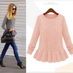2013 Winter New Fashion Women's Vintage Skirt Hem Twist Round Collar Sweater Female Pullover Sweater -4
