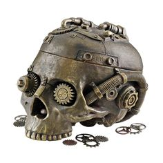 Is this a good gift for a 14 year old boy?  I'll have to think on that.  Design Toscano Steampunk Skull Containment Vessel Figurine & Reviews | Wayfair