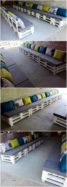 reused pallets wooden long patio couch
