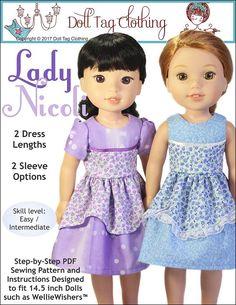 Lady Nicoli dress pdf pattern for 14.5 inch dolls like WellieWishers. Pattern by Doll Tag Clothing
