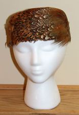 VTG 60s LADIES BEAUTIFUL PHEASANT FEATHER AUTUMN PILLBOX HAT