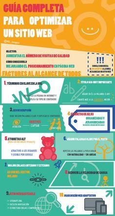 Guía completa para optimizar un sitio Web. Infografía en español. #CommunityManager
