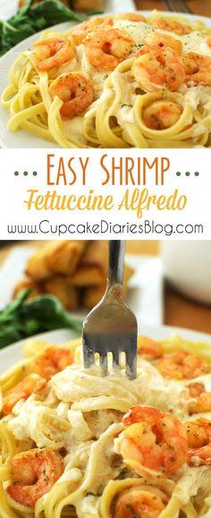 Easy Shrimp Fettuccine Alfredo #ShrimpItUp #ad